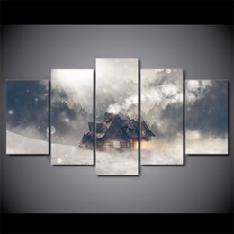 Life Houses Canada - New Fantasy House On The Snow Canvas Painting 5 Panel No frame Home decor Wall Art Picture For Kids room Print Poster