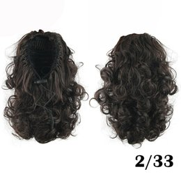 Discount weave hairs short - Wholesale-14Inch 4 Colors Short Malaysian Curly Hair Brown Kinky Hair Weave Fake Ponytail Black Brown