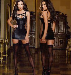 Schwarzer Verband tiefem V-Ausschnitt, figurbetontes Kleid PVC Sexy Leder Kostüm Pole Dance Kleidung für Frauen realistische Latex Dessous Clubwear im Angebot