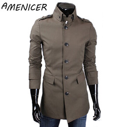 Tranchées Des Hommes Pas Cher-Vente en gros- Automne Famous Brand Hot Sale Hommes Single Breasted Long Trench Coats Mens Forme Coton Trench Coat 4 Couleurs Masculina