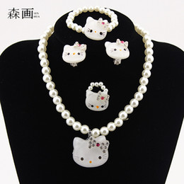 Pink Pearls jewelry set online shopping - SENHUA Kids Baby Girls Princess necklaces Crystal KT Cat Necklace Bracelets Imitation Pearl Beads Jewelry Set Children Party Gift TZ40