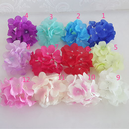 Wedding Hair Decoration Flowers NZ - 15Color! 11CM Artificial Small Hydrangea Decorative Silk Flower Head For DIY Wedding Hair Flower Home Decoration accessory props FH03