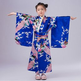 Barato Fantasias De Performance Infantil-Dancewear Japonês Kimono Girl Dress Elegant Flower Kid Girl Dança Trajes Crianças Stage Performance Costume 120-150cm UD0076