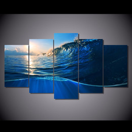 ocean waves canvas oil painting UK - 5 Pcs Set Framed HD Printed ocean wave blue sea sky Painting Canvas Print room decor print poster picture canvas Free shipping ny-2085