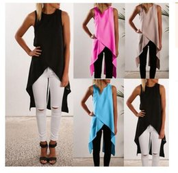 Barato Senhoras Baixo Corte Tops-Mulheres Senhoras Sexy Asymmetrical Cut Out Low Low Tank Tops Summer Casual Loose Beach Bandage Vest Tee Shirts Z1