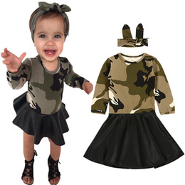 Barato Camuflagem Vestido-Kids Dress Winter Camouflage PU Girl Party Dress + Headband 2pcs Girls Clothes Outfits Cute Stitching Long-sleeve Children Dresses Costume