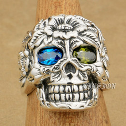 $enCountryForm.capitalKeyWord NZ - LINSION 925 Sterling Silver Flower Skull Blue + Green CZ Eyes Mens Boys Biker Rock Punk Ring 9W405 US Size 7~15