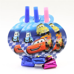 Wholesale 8 Pcs Lot Cars LightningMcQueen Blow Out Baby Boy Kids Happy Birthday Party Decoration Supplies Favor Festival Noisemaker