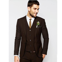 Flat Angle NZ - New hot red wine suit three-piece suit (jacket + pants + vest) fashion single buckle flat angle collar men's business men's business suit