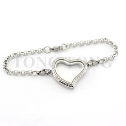 $enCountryForm.capitalKeyWord NZ - 5 PCS 30mm Magnetic Closure Stainless Steel Silver Czech Crystals Curvy Heart Locket Bracelet with 8'' (22cm) Matching Rolo Chain