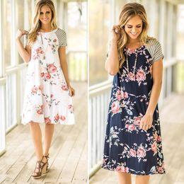 2a09665be4 DHL FREE Floral Print Casual Mini Dress 2017 Women Summer Striped Leisure  Vestidos Short Sleeve Cute Sexy Beach Loose Robe Sundress