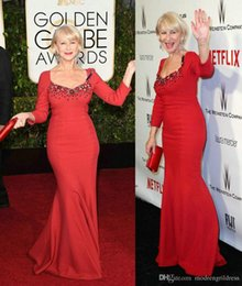 Robe Rouge À Col Carré Pas Cher-Helen Mirren 72e Golden Globe Robes de Cartier Rouge Square Neck strass manches longues Celebrity robes de soirée formelle sirène