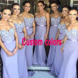 Robes De Demoiselle D'honneur En Perles Sans Bretelles Pas Cher-Elegant Lavender Robes de demoiselles d'honneur longues robes de demoiselle d'honneur Sweetheart Strapless Beaded Flowers Appliqued Wedding Party Gowns