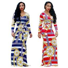 $enCountryForm.capitalKeyWord NZ - Plus Size Woman Clothing Golden Chains Pattern Printed Maxi Dress Casual O-Neck Long Sleeve Dresses With Belt S-3XL