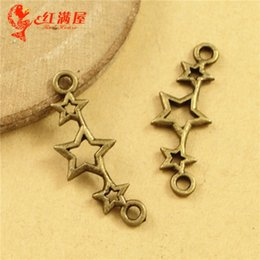 Bulk Connectors NZ - 25*9MM Ancient retro three star charm connector beads pendant DIY jewelry accessories wholesale, Chinese cheap charms in bulk