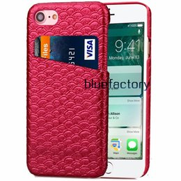 Fish phone case online shopping - New Fahion Mermaid Fish Scales Pattern PU Leather Case Stylish Card slot Phone Cover for ipohne for ipohne s plus