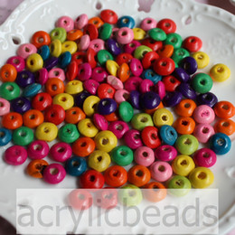 Kids Craft Making Canada - 500pcs Factory Price Rainbow Colors Abacus Round Flat Natural Wooden Beads 6-14MM Jewelry Making Kids Craft Supply
