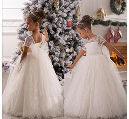 belts for cheap UK - Vintage Lace Flower Girls Dresses 2020 Cheap Price Sashes Belt Ball Gown Charming First Communion Dress For Girls Custom Made HY1193