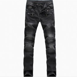 Barato Drapeja Calças Masculinas-Wholesale-New Fashion jeans Plissado Ruched Draped Men Biker Jeans Motocicleta Riscado Joggers Calças Denim Trousers Plus Size 40