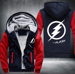 Barato Hoodies Encapuzados De Lã-New style Winter Coats The Flash hoodie Anime Justice League Hooded Thick Sweatshirts brand hoodies lã Mantenha homens quentes Sportswear, Plus Size