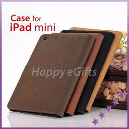 Luxury Display Cases Canada - Wholesale-High quality Retro book Style Flip Luxury Synthetic Leather Stand Case for iPad mini 1 2 3 Retina Display (4 Colors Option)