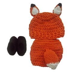 crochet hats spring summer UK - Lovely Newborn Fox Costume,Handmade Knit Crochet Baby Boy Girl Animal Hat,Booties and Diaper Cover Set,Toddler Halloween Photography Prop