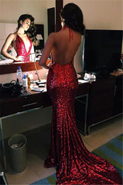 $enCountryForm.capitalKeyWord Canada - Sexy Hot Red Sparkly Sequined Mermaid Evening Dresses 2017 Halter Plunging Deep V Neck Sexy Backless Prom Dresses Long Sweep Train