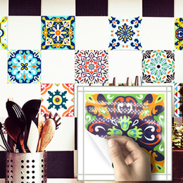 Tiles Design For Kitchen Wall Australia - 20*20cm*10pcs 7.87*7.87inch* PVC Waterproof Self adhesive Wallpaper Kitchen Mediterranean Tile Wall Sticker Wall Decal Wallpaper