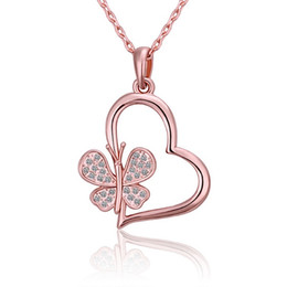 Best Wedding Pendant Australia - Best gift Rose Gold white crystal jewelry Necklace for women DGN504,animal 18K gold gem Pendant Necklaces with chains