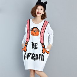 Plus Size T Shirt Dress Pattern Canada - Plus Size Women T-Shirt Autumn White Dress Kawaii Cartoon Pattern Print Cotton Fashion Female Big Size Young European Tops&Tees
