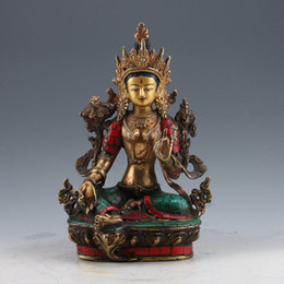 $enCountryForm.capitalKeyWord UK - Chinese Brass Gilt Turquoise Hand-painted Tibetan Buddhist Green Tara Statue