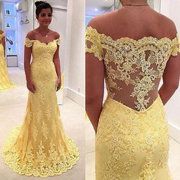 df98f8c12 Vestidos Graduacion Royal Blue Canada - Yellow Lace Mermaid Prom Dresses  2017 Fashion Off The Shoulder