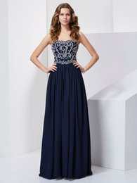 Robes De Club Bleu Foncé Pas Cher-Junoesque Beading Prom Homecoming Robes Longueur de plancher Bleu foncé A-Line Sweetheart Party Dress Club Wear Perles Special Occasion Gown