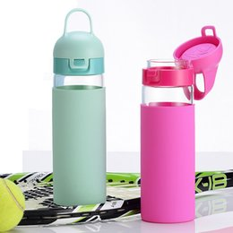 bpa free glasses NZ - Sports Water Bottle One Click Flip Top Open with Silicone Sleeve 18oz BPA Free Borosilicate Glass Portable for Running Gym Yoga Outdoors