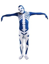 Costume Blanc Serré Pas Cher-Blue White Skeleton Nude Suit Tente Zentai Body Spandex Stretch Mens Jumpsuit Adulte