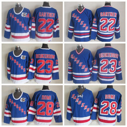 75th jersey Canada - Vintage New York Rangers Hockey Jerseys 22 Mike Gartner 28 Tie Domi 23 Jeff Beukeboom Home Royal 1992 75th Anniversary Blue Stitched Jersey