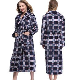 Wholesale- High Quality Winter Warm Flannel Robes Hotel Spa Plaid Soft  Plush Bathrobe Long Sleeve Sleepwear Kimono Robe Homewear Pyjamas 8e7bf2843