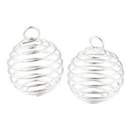 China Free Shipping 100pcs lot Silver Plated Spiral Bead Cages Pendants Findings 9x13mm Jewelry Findings New Jewelry making DIY cheap wholesale silver plated beads suppliers