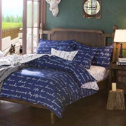 Blue Queen Sheet Set NZ - Wholesale- Home Textile Duvet Cover Blue Love Letter Printed Cotton Bedding Set Single Double King Quilt Duvet Cover Bed Sheet Pillowcase