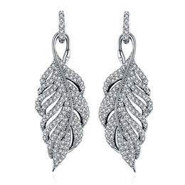 $enCountryForm.capitalKeyWord UK - SALE 925 silver fit Pandora Europe Feather Crystal from Swarovski new fashion creative cz Earrings classic retro micro set hot jewelry