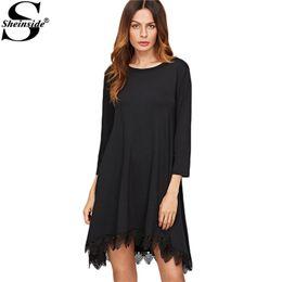 38894f3d2a Sheinside Casual Dress for Women Spring Short Dress Black Three Quarter  Length Sleeve Lace Trim High Low Swing Dress
