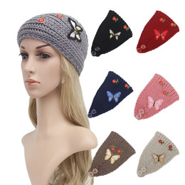 Wholesale Women Fashion Hair Jewelry Wool Crochet Headbands Knit Hair bands Butterfly Flower Winter Ear Warmer Wool hair bands