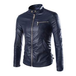 $enCountryForm.capitalKeyWord Australia - Wholesale- 2016 New Brand Motorcycle Leather Jackets Men Stylish Jaqueta Couro Masculine Stand Collar Fashion Design White Black Navy Blue