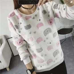 919f29ca71 Autumn Winter Pullovers Sweatshirts Women Warm Cute Tops Long Sleeve Wool  Liner Animal Print Coral Velvet Sweatshirt Lady Casual Shirts