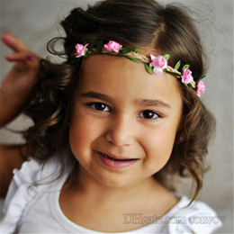 Flowers baby girl photos online shopping - Baby Girls Garlands Headband Kids DIY Rose Flower Headdress Photo Probs Girl Beach Garland princess headwear Children Hair Accessories KGA08