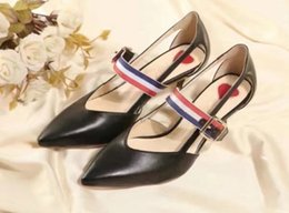 Belted sandals Black online shopping - high quality u732 colors genuine leather belt pointy heels sandals sexy luxury black red