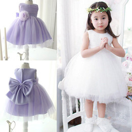 Flower Girls Stockings NZ - lovely Cheap Flower girls Dress In Stock Ivory,Light Purple Knee Length Ball Gowns Girls Party Dress with Bow and hand made flower