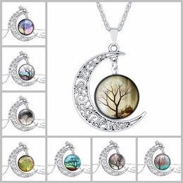Fashion Gem Vintage Canada - Wholesale Mix Style New Arrive Moon and Sun Time Gem Tree Cabochon Vintage Chain Necklace Pendant for Fashion People