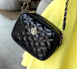 Discount small female hand bag - New women chain Diamond Lattice single shoulder messenger hand bag female fashion evening bag black red meige colors