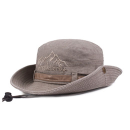 f0af7273f02 Unisex Men Women Adjustable Visor Outdoor UPF Boonie Hat Wide Brim Sun Cap  Fishing Breathable Bucket Hat Men Safari Summer String Cap
